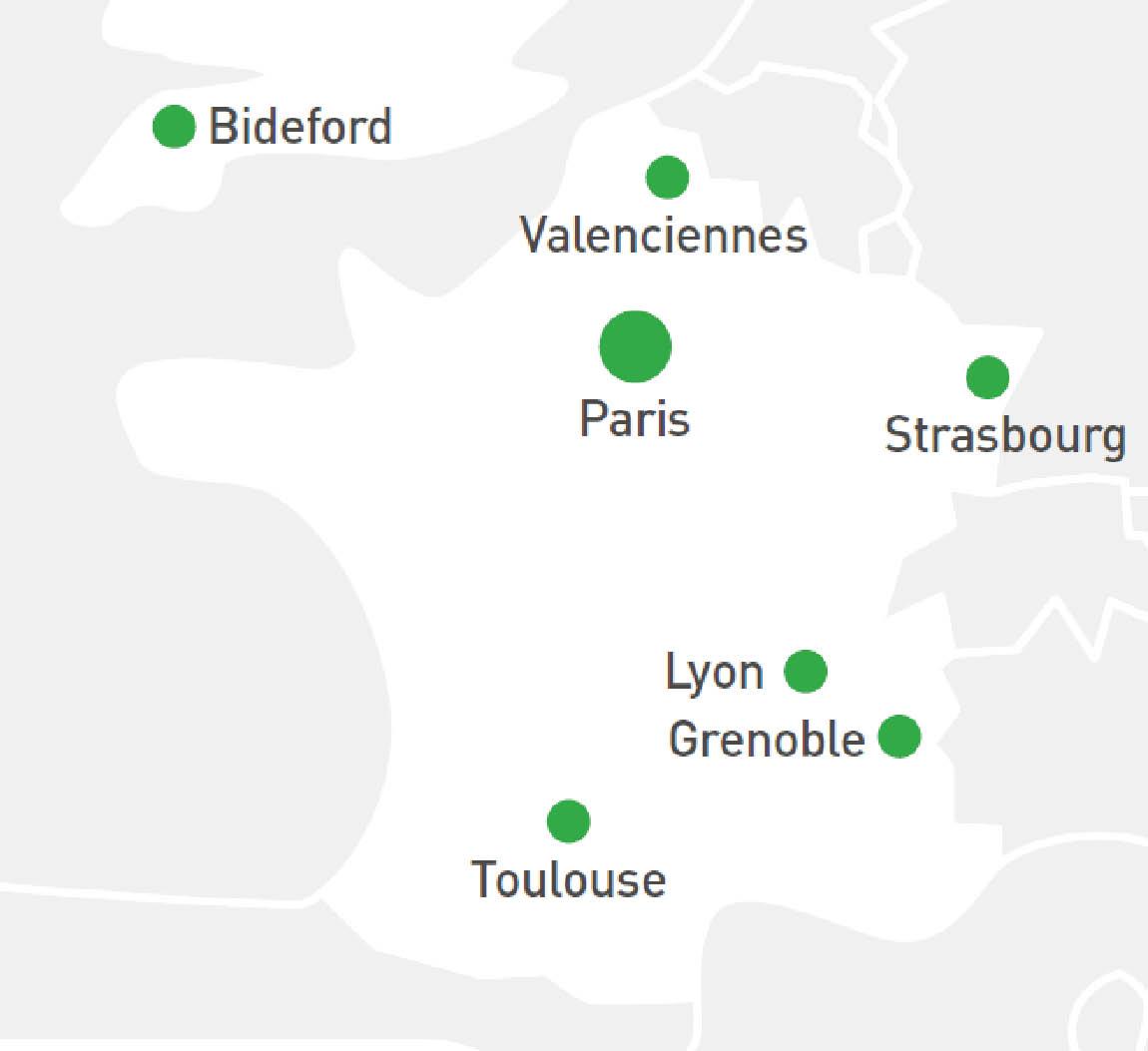 Carte des implantations de Sopemea : Paris, Valenciennes, Lyon, Grenoble et Toulouse en France mais aussi Bideford au Royaume-Uni.