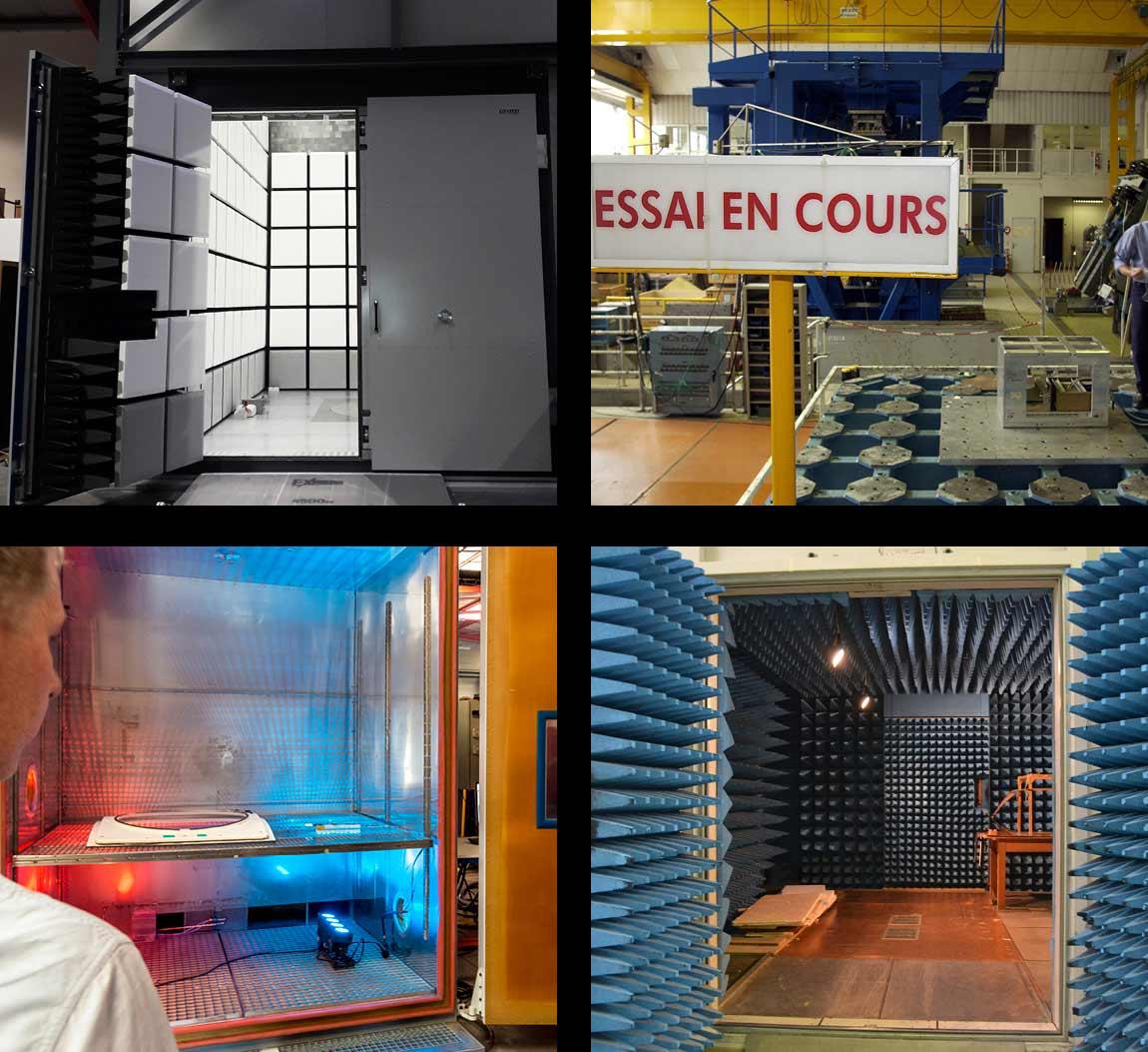 4 équipements : une enceinte CEM, une table sismique, une enceinte climatique et une enceinte CEM