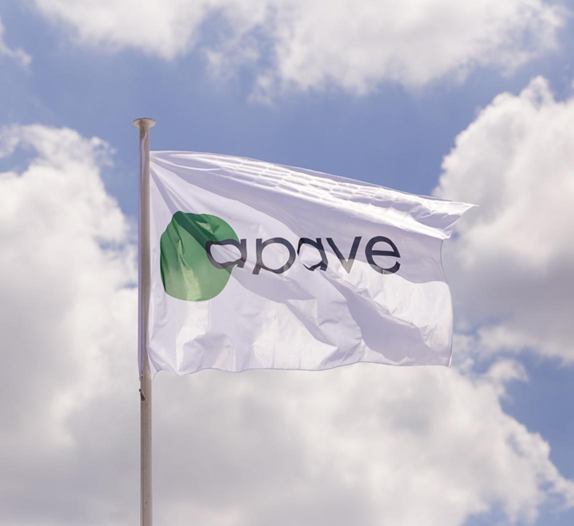 A white flag with the Apave logo