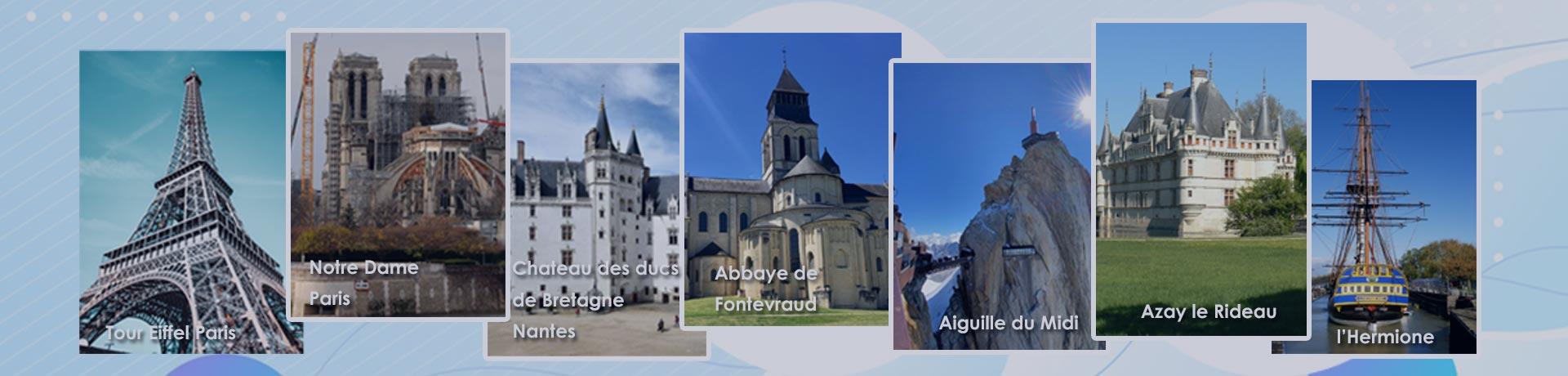 Différents monuments français