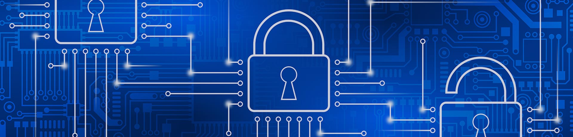 A blue background with white padlock pictograms