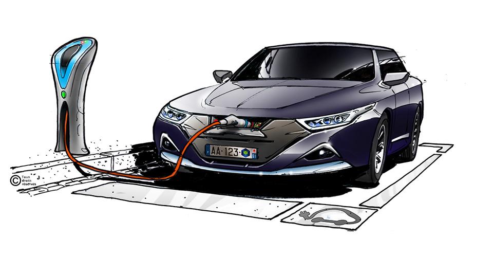 Dessin d'une voiture électrique avec borne de recharge