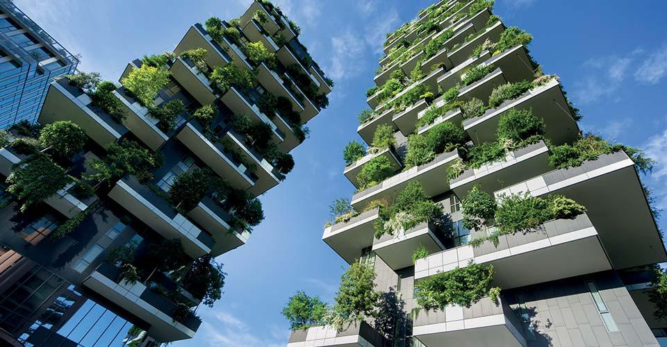 Vue du bas de deux bâtiments avec de la verdure pour représenter les certifications et labels environnementaux