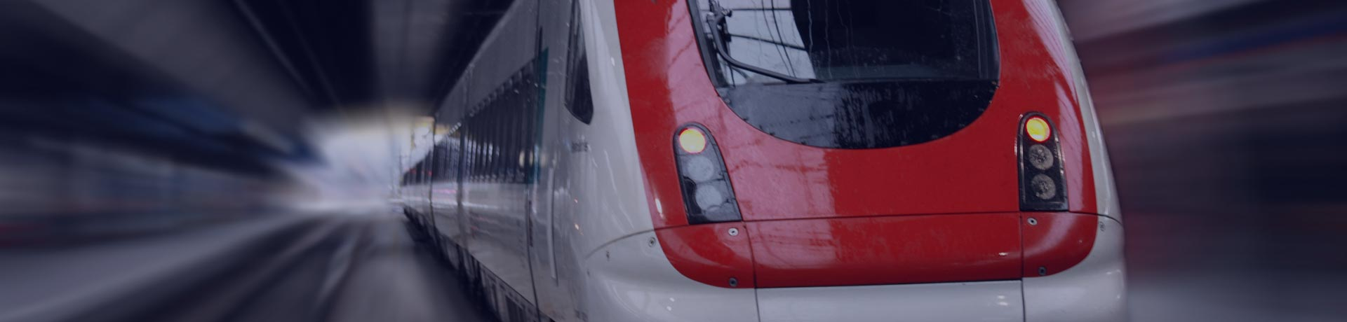 A train on the rails in motion