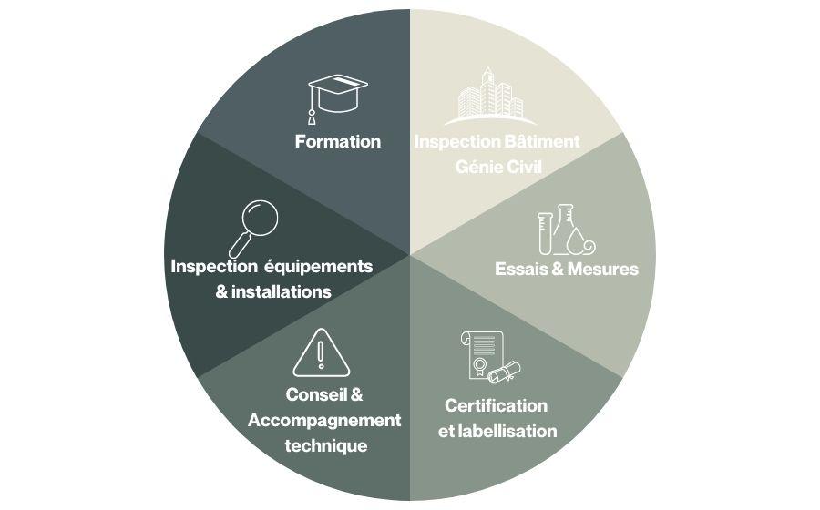 Diagramme présentant les métiers Apave