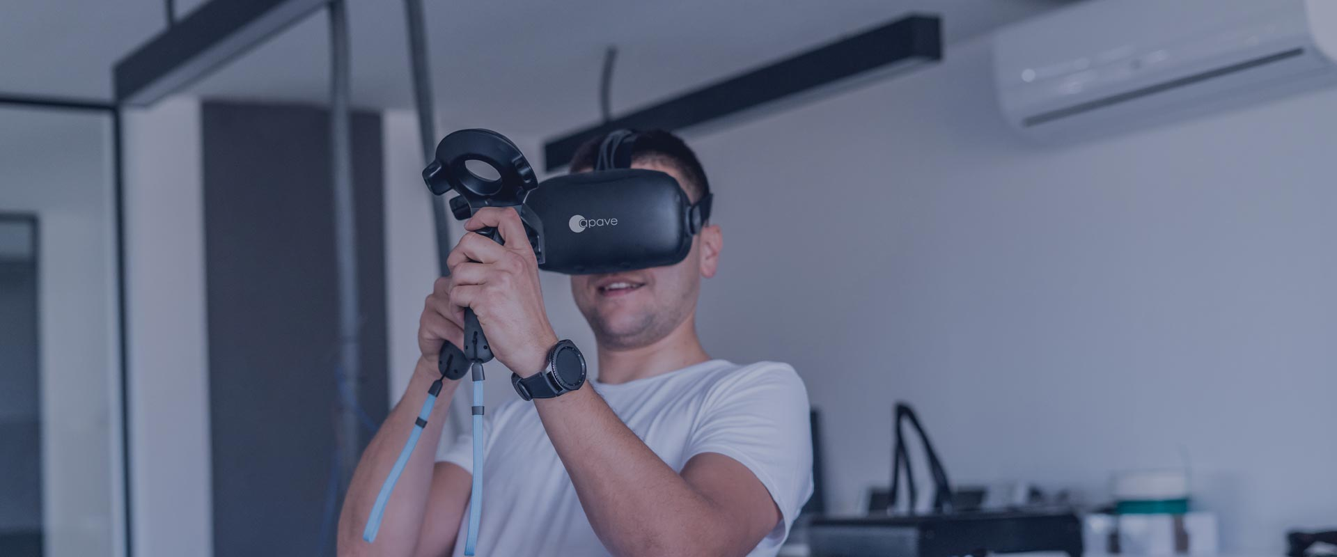 man with a virtual reality helmet
